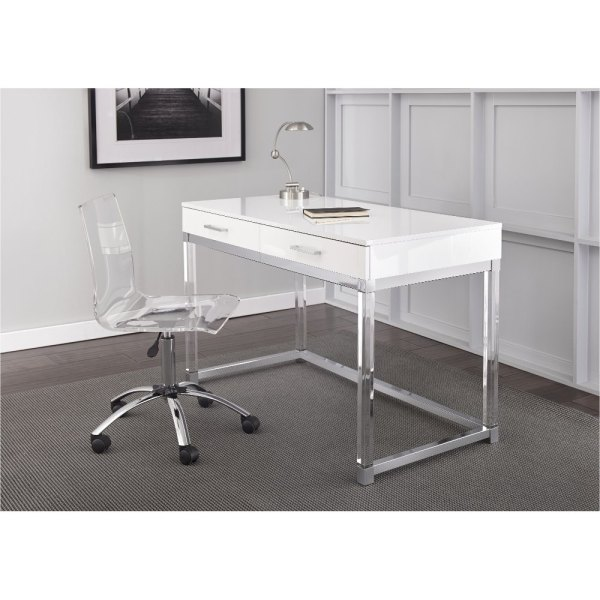 Modern White Desk   Everett   RC Willey Furniture Store