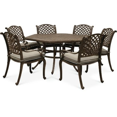 Get your patio set  patio furniture  and outdoor chairs   RC Willey         Brown 7 Piece Brown Outdoor Patio Dining Set   Castle Rock