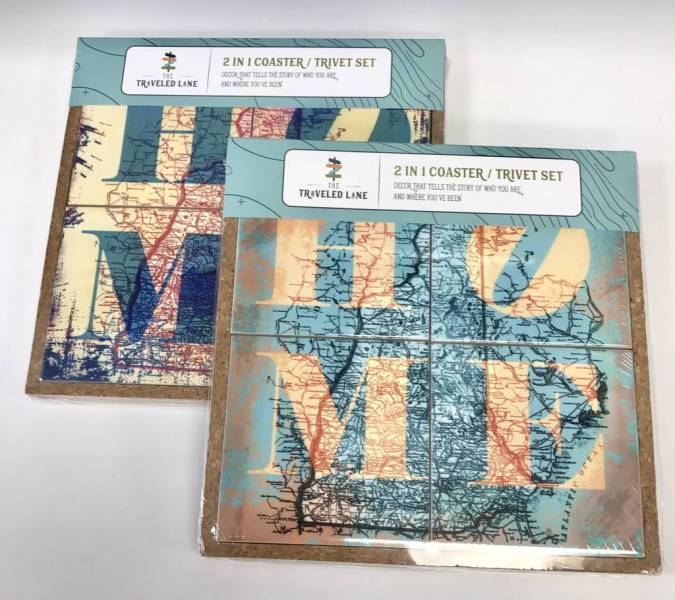 2 in 1 Coaster   Trivet Set   HOME New Hampshire Map   Marketplace     The Traveled Lane 2 in 1 Coaster   Trivet Set   HOME New Hampshire Map