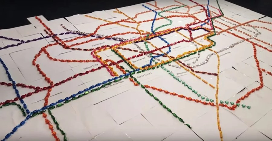 A giant chocolate tube map has been created using only Quality     This is the tube map of dreams