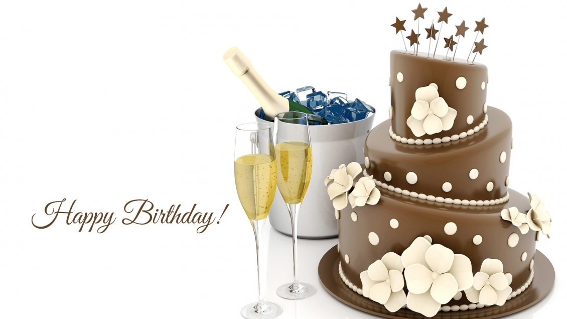 Champagne And Chocolate Cake Happy Birthday