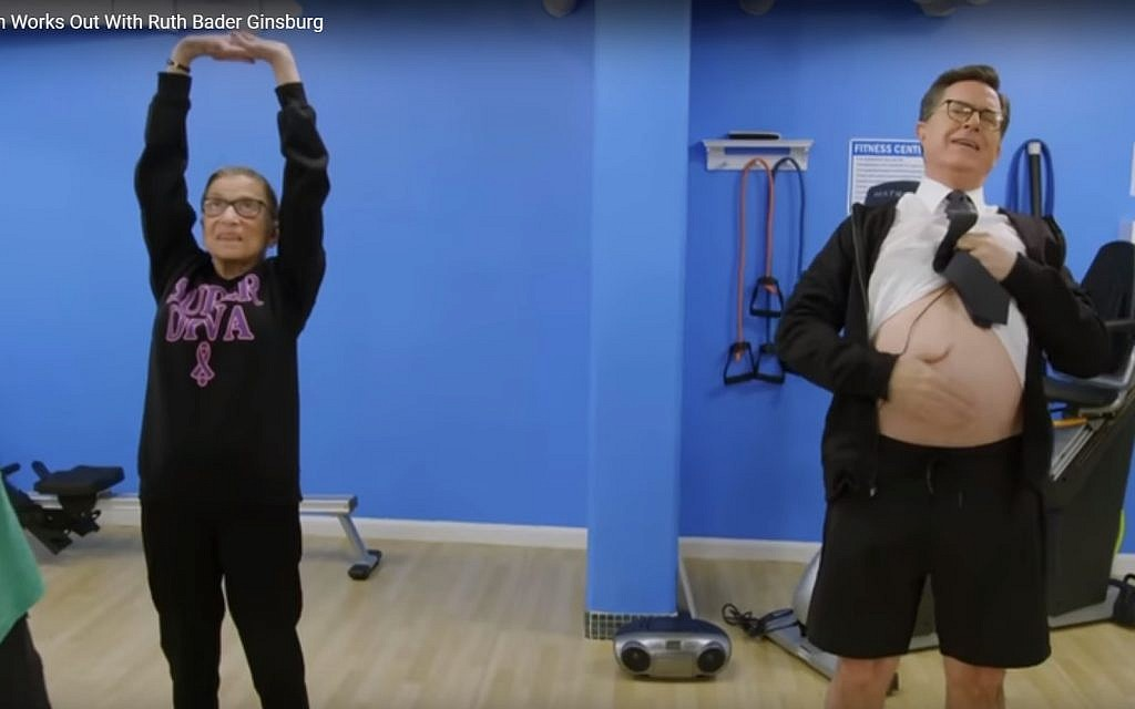 Colbert Struggles To Keep Up With Bader Ginsburg Workout