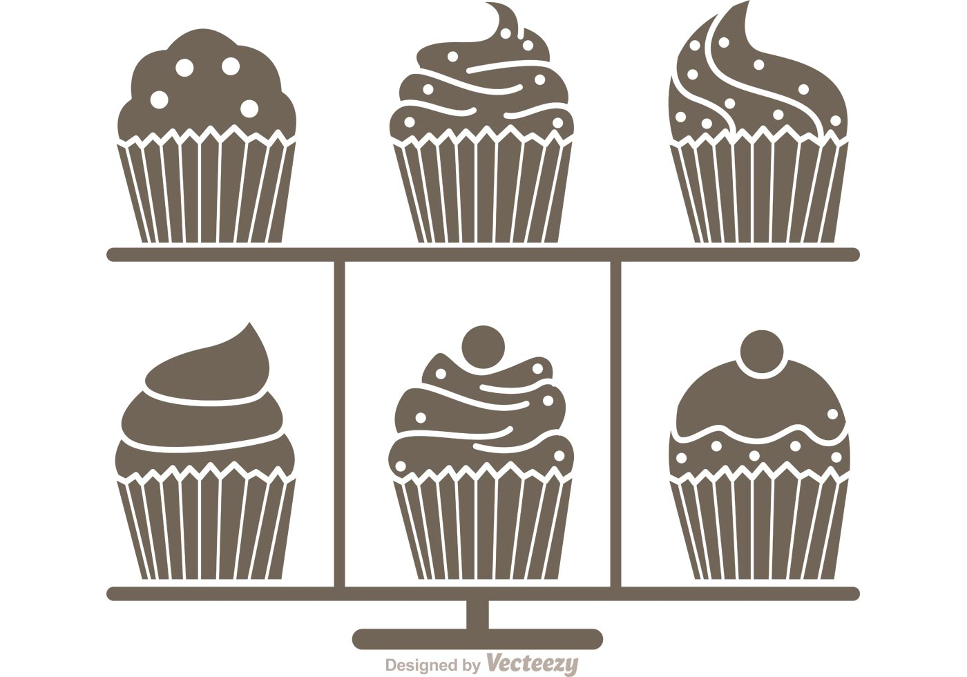 Silhouette Cupcake Stand Vector Download Free Vectors