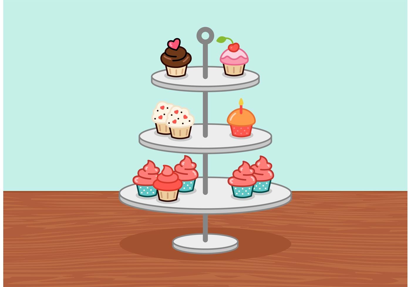 Little Cupcake Stand Vector Download Free Vectors