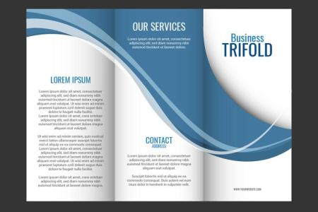 Template design of blue wave trifold brochure   Download Free Vector     Template design of blue wave trifold brochure
