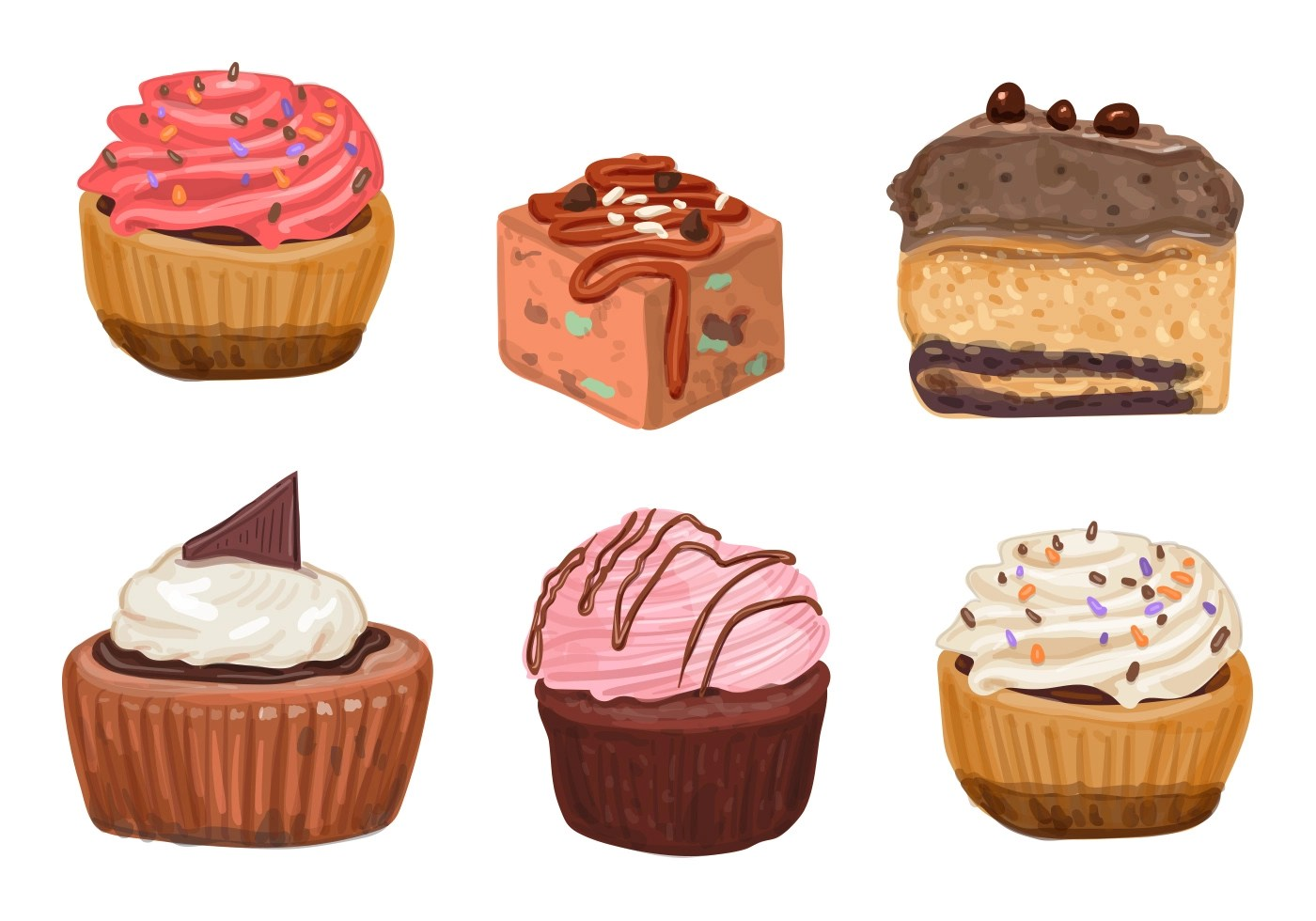 Cakes And Cupcake Vectors Download Free Vector Art