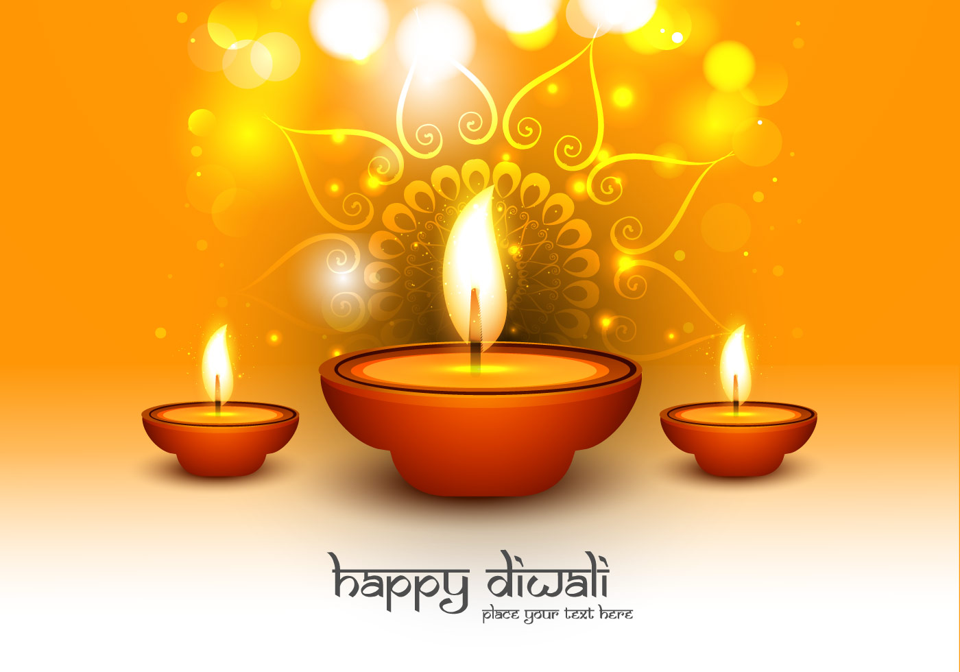 Happy Diwali Text With Oil Lit Lamps - Download Free ...