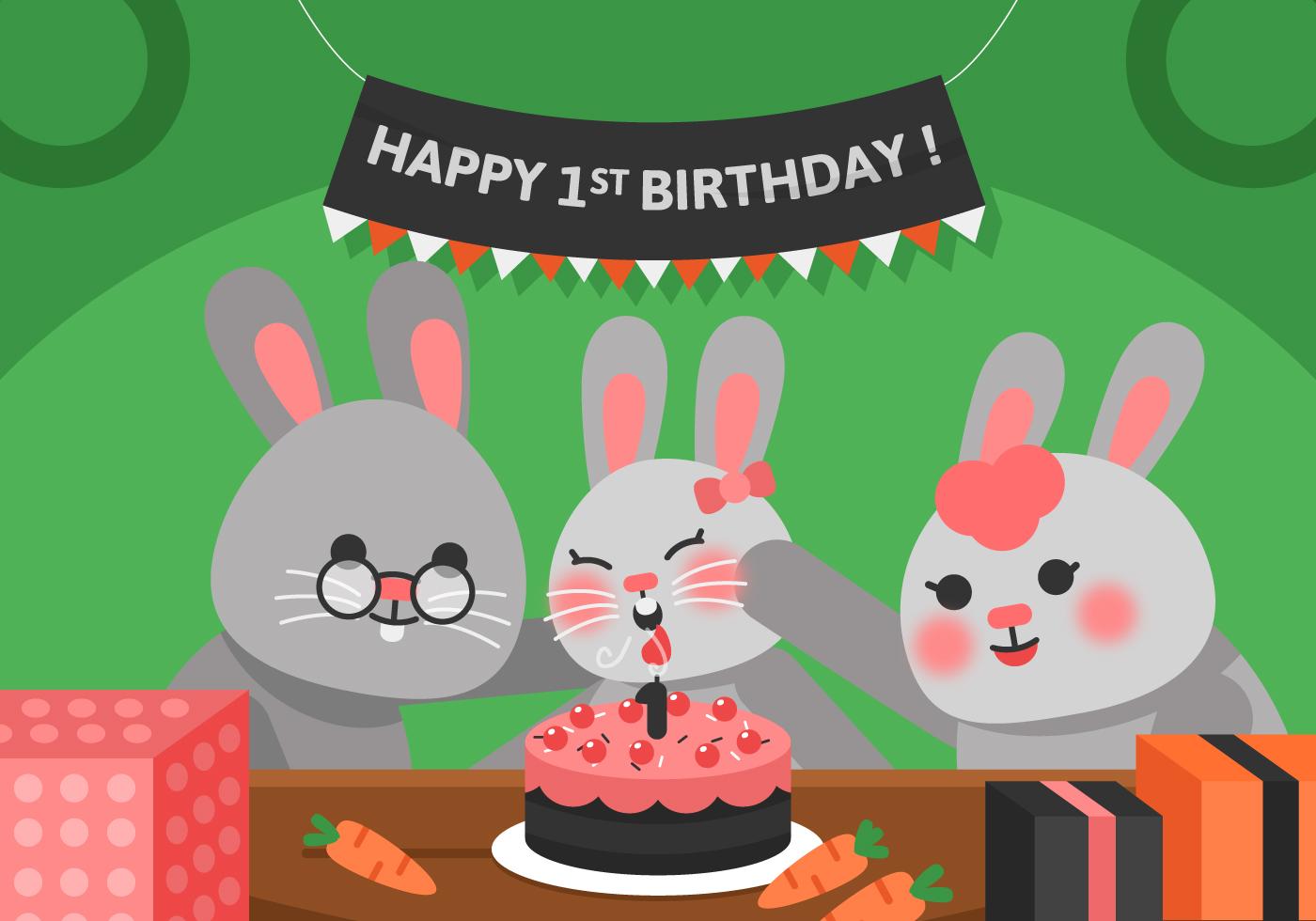 Vector First Birthday Rabbit Download Free Vectors