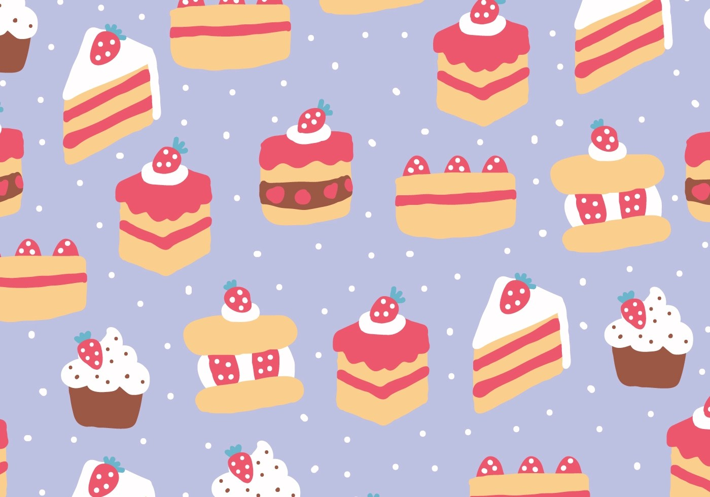 Strawberry Cakes Pattern Download Free Vectors Clipart