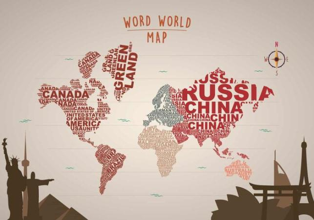 Free Word Map Illustration with Landmarks   Download Free Vector Art     Free Word Map Illustration with Landmarks