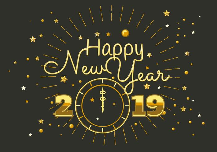 Happy New Year 2018 Typography Vector   Download Free Vector Art     Happy New Year 2018 Typography Vector