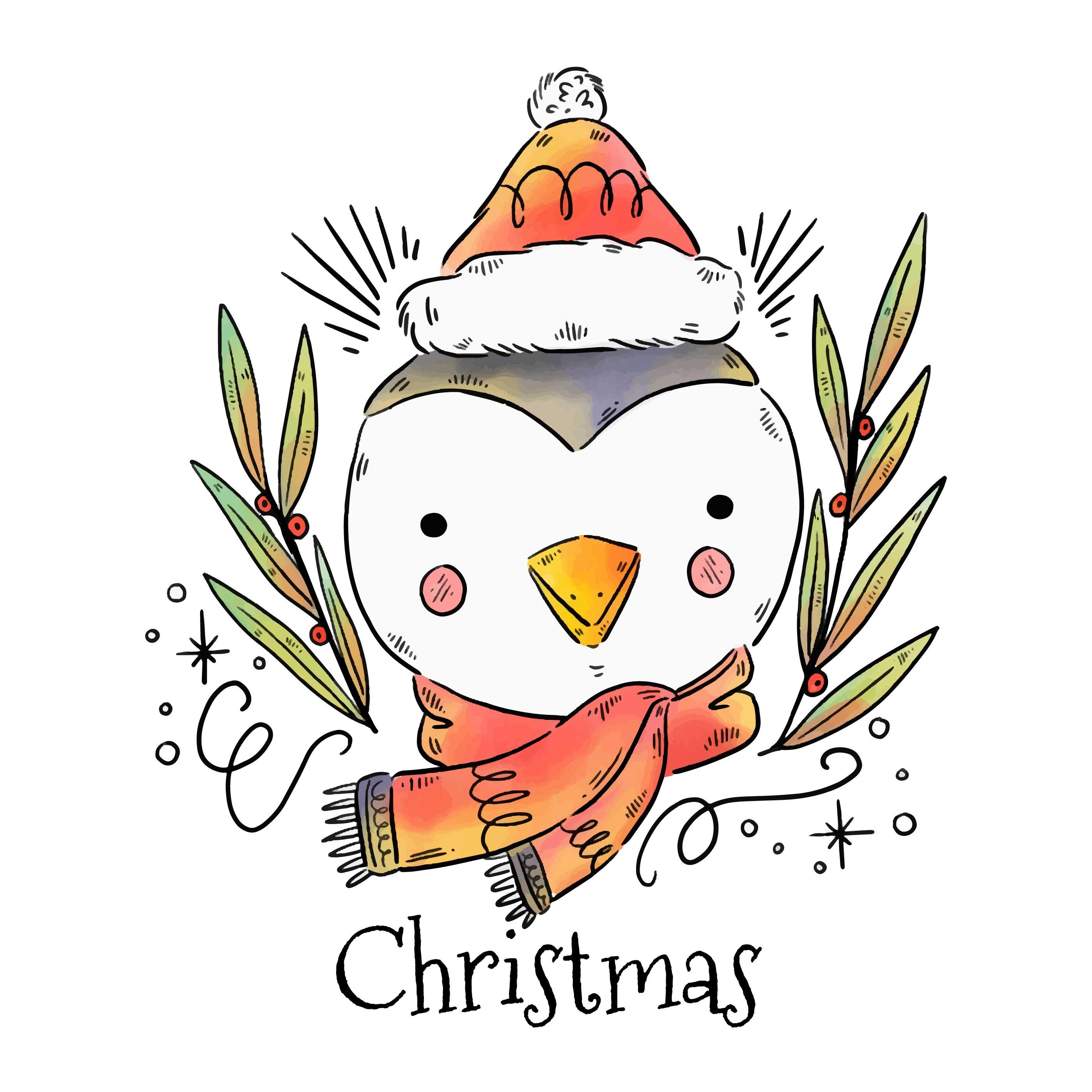 Cute Christmas Penguin Vector - Download Free Vectors ...