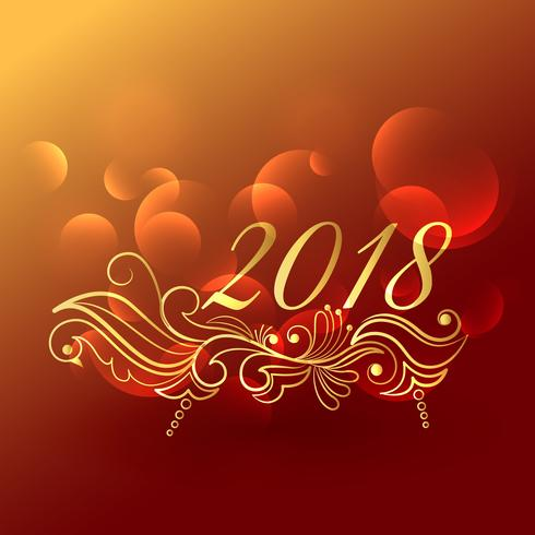 elegant 2018 new year greeting design with floral decoration     elegant 2018 new year greeting design with floral decoration