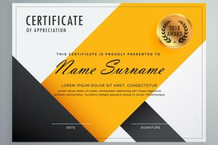 modern yellow and black certificate design template   Download Free     modern yellow and black certificate design template