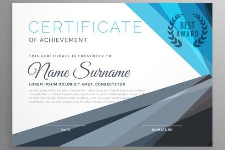 creative certificate of achievement design template in blue and     creative certificate of achievement design template in blue and