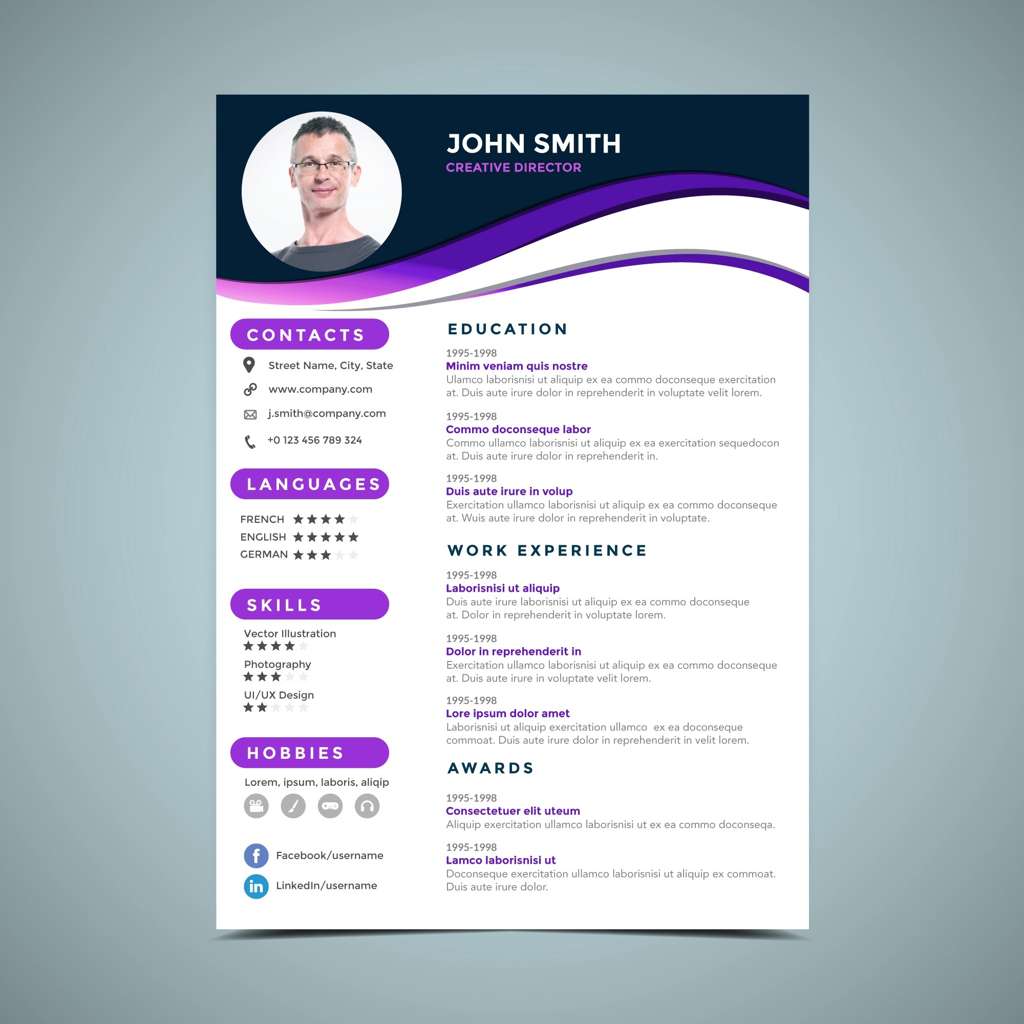 Purple Resume Design Template Download Free Vectors