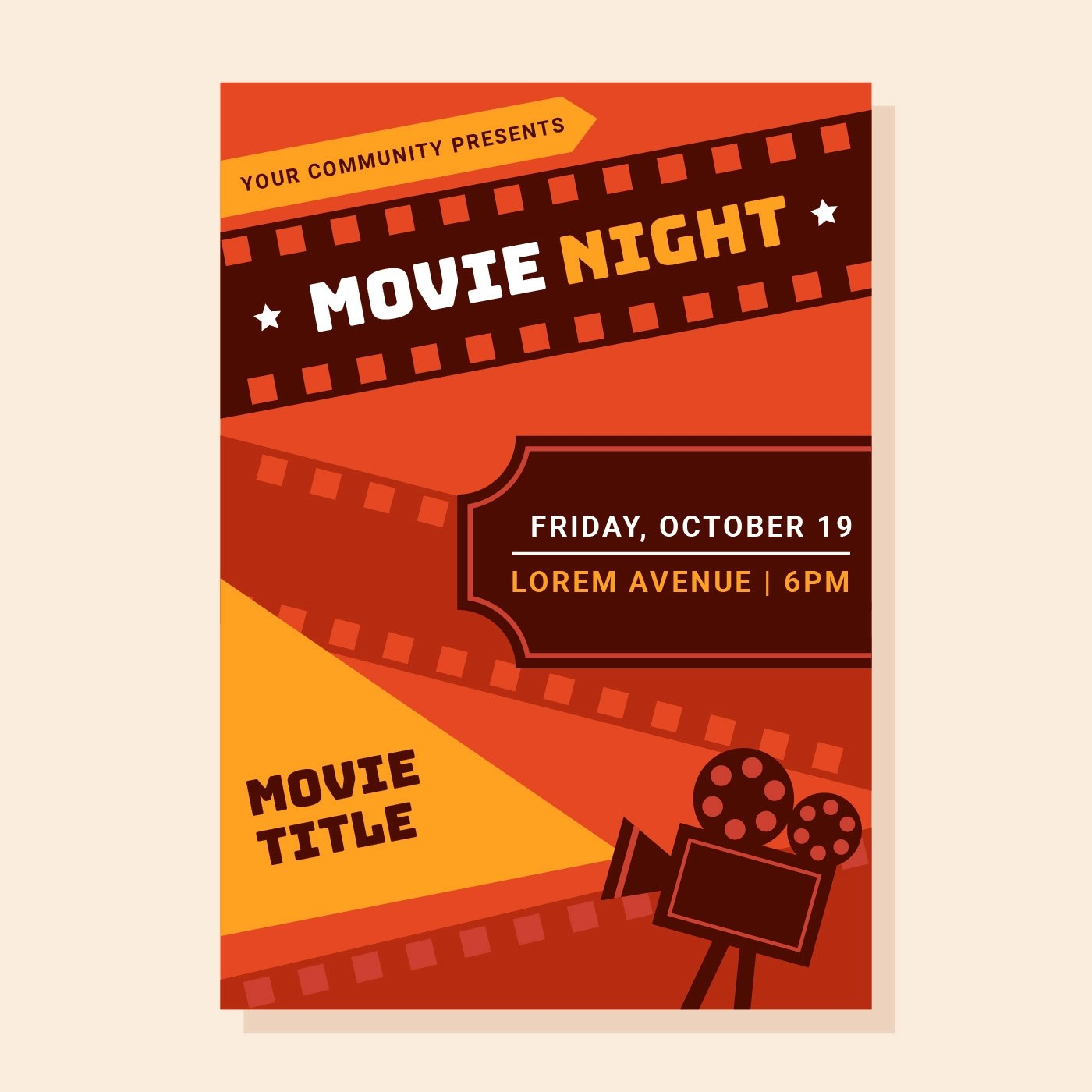 Movie Night Poster Download Free Vectors Clipart