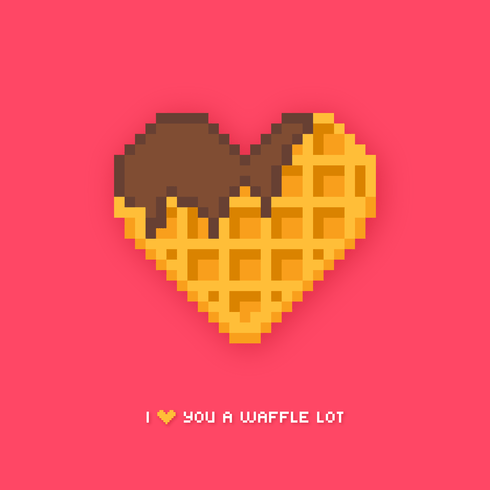 Heart Shaped Waffle Pixel Art Download Free Vector Art