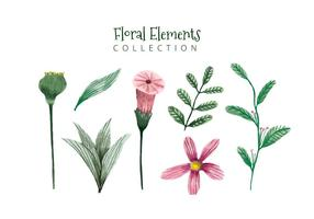 Cute Flower Free Vector Art    14051 Free Downloads  Cute Watercolor Elements Flowers And Leaves