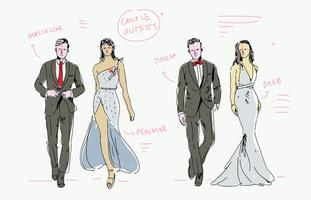 Fashion Sketches Free Vector Art    6921 Free Downloads  Tuxedo And Dress Couple Fashion Model Sketch Hand Drawn Vector Illustration