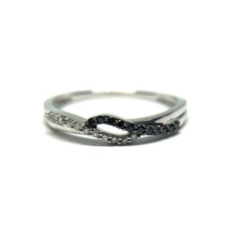 14K White Gold and 0 10cttw Black and White Diamond Petite Wave Band 14K white gold diamond band  Black and white diamond band  Diamond right hand  ring