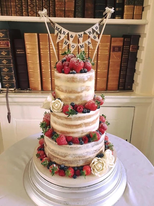 semi naked fruit wedding cake