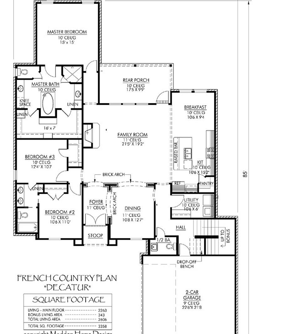 Plan Madden House Francisville St