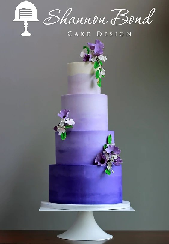 Purple Ombre Buttercream Wedding Cake