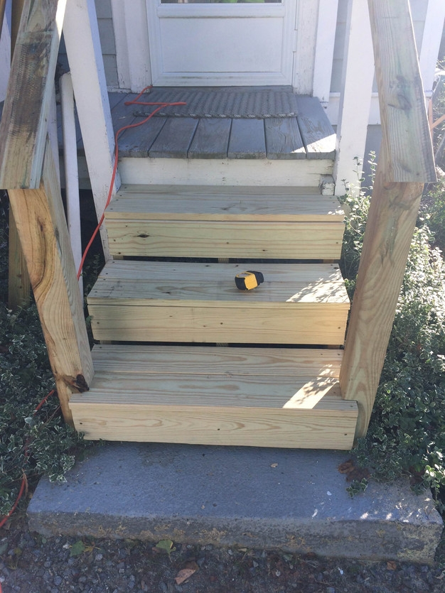 Replacing Rotten Stairs   Pressure Treated Wood Stairs   L Shaped   Exterior   Timber   45 Degree Stringer   8 Foot