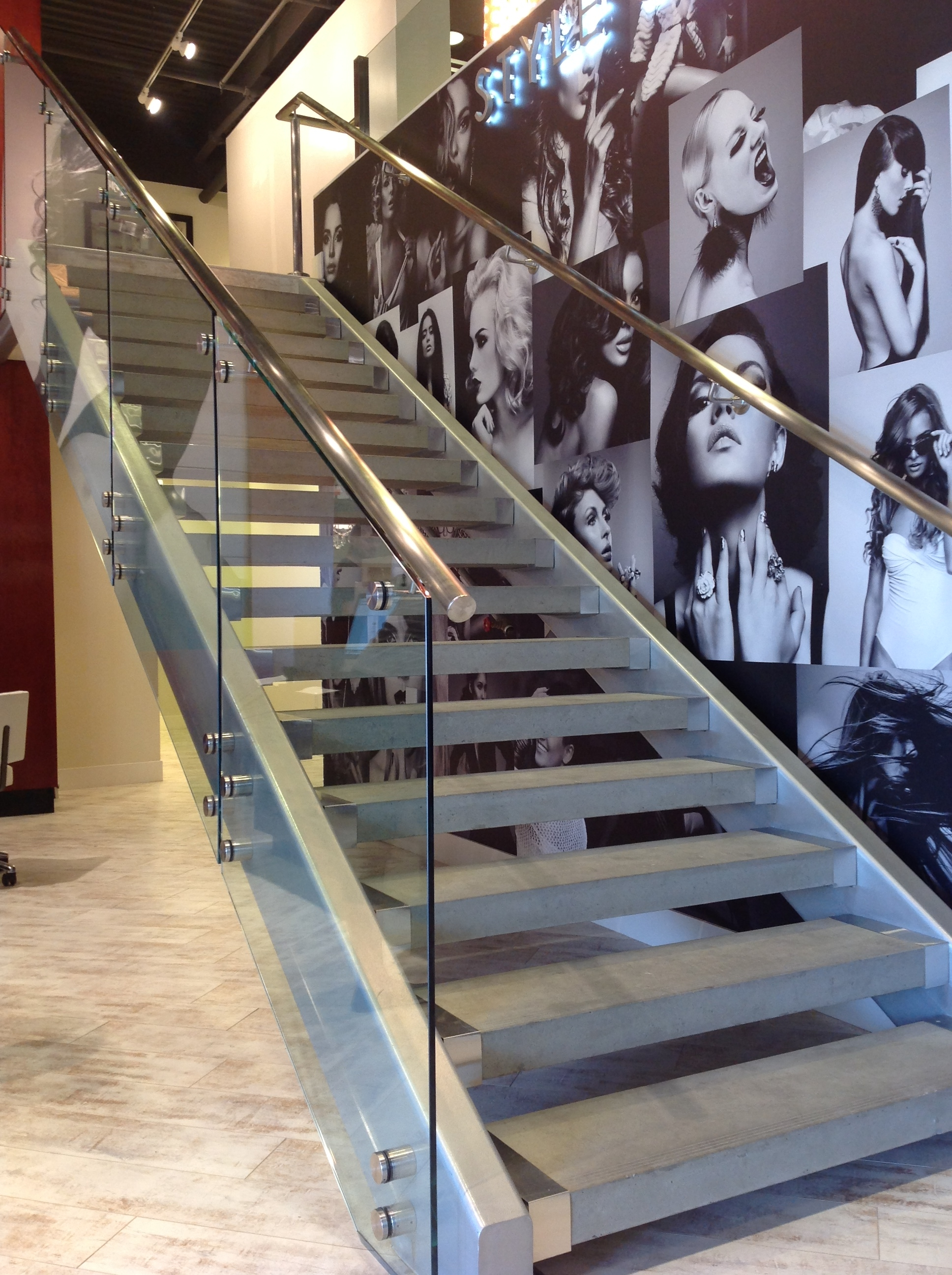 Glass Railing Stair Railways Hearth Home Specialties Las Vegas | Staircase Design Near Me | Stair Treads | Spiral Staircase | Interior Design | Living Room | Stairbox