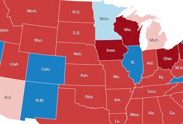 HD Decor Images » Red and Blue Map  2016   The New York Times Image