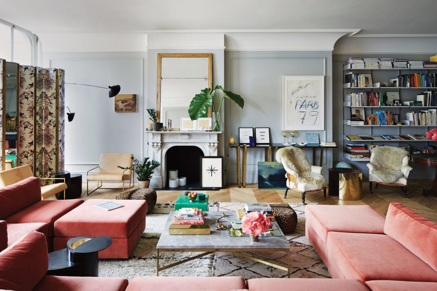 Jenna Lyons s Space of Her Own   The New York Times In the living room of Jenna Lyons s SoHo loft  a vintage Milo Baughman sofa  covered in Pierre Frey velvet  a Paul McCobb coffee table with a custom  marble