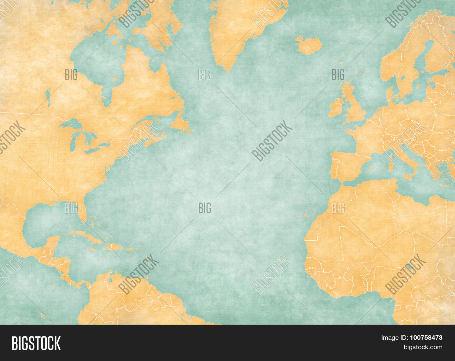 Blank Map North Image   Photo  Free Trial    Bigstock Blank map of North Atlantic Ocean with country borders  The Map is in  vintage summer