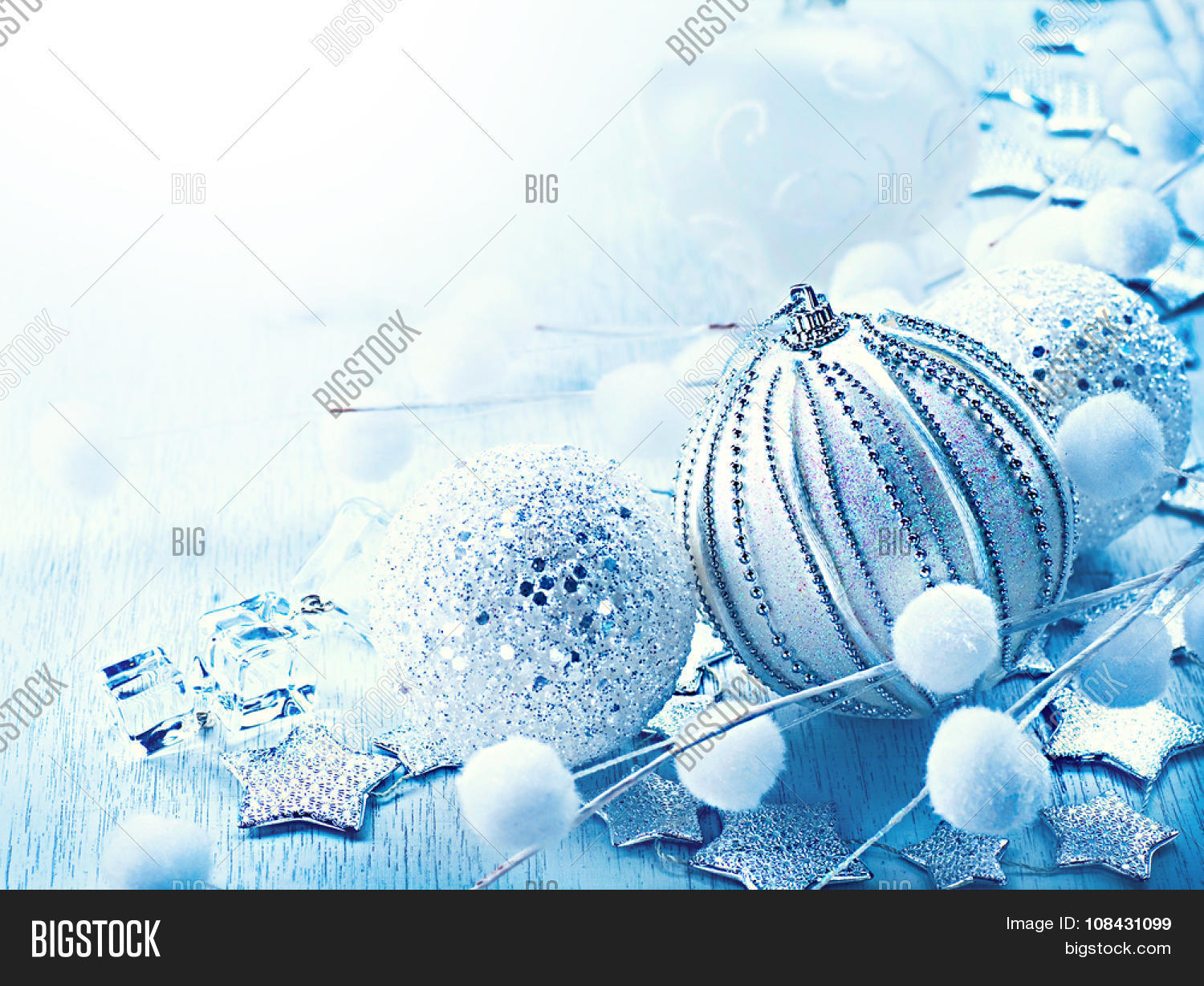 Christmas  Christmas Image   Photo  Free Trial    Bigstock Christmas and New Year Bauble and Decoration border design  Holiday  Composition  Blue