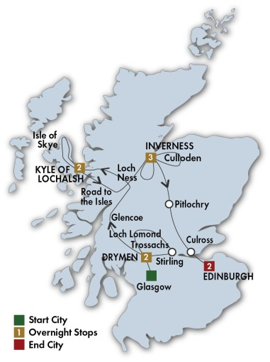 Trips to Scotland  Scotland Escorted Tours   CIE Tours View Larger Map