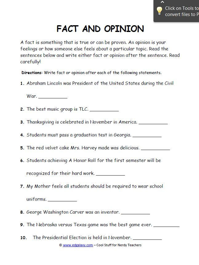 Middle School English Worksheets