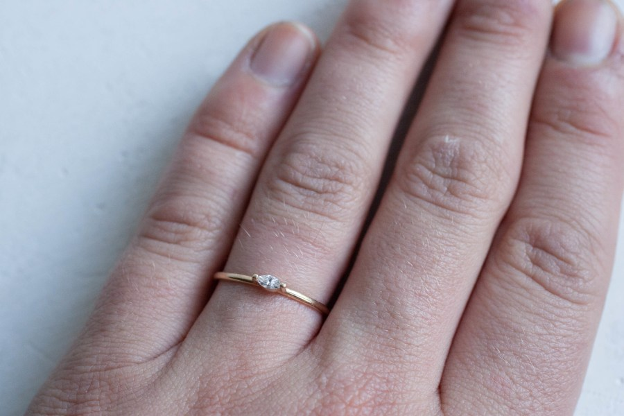 Petite Diamond Marquise Ring Solid 14k Recycled Gold     Mineralogy Petite Diamond Marquise Ring Solid 14k Recycled Gold