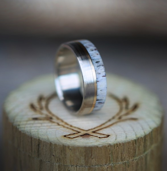 WOOD   ANTLER RINGS     Staghead Designs   Design Custom Wedding Bands     Antler  Yellow Gold and Brushed Titanium Wedding Band by Staghead Designs