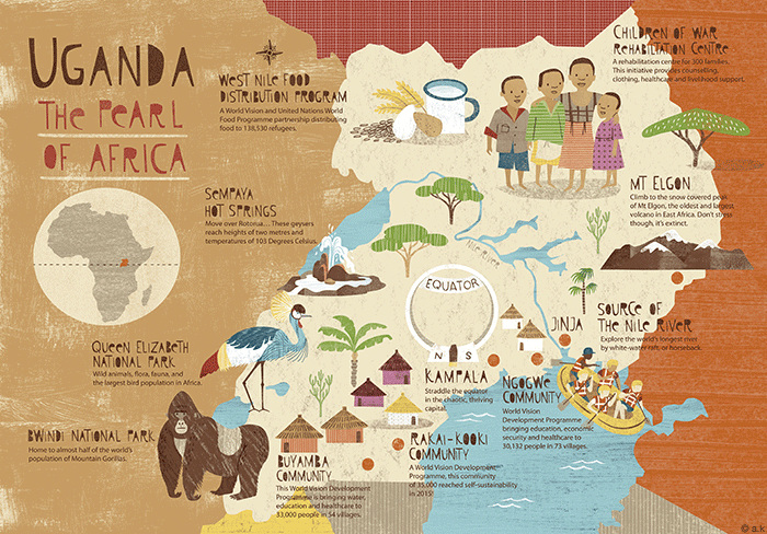 Uganda Map     The Picture Garden Here is a map I recently created of Uganda for World Vision NZ  It was  published in their new magazine  Bit by Bit   I think Mountain Gorillas are  now my