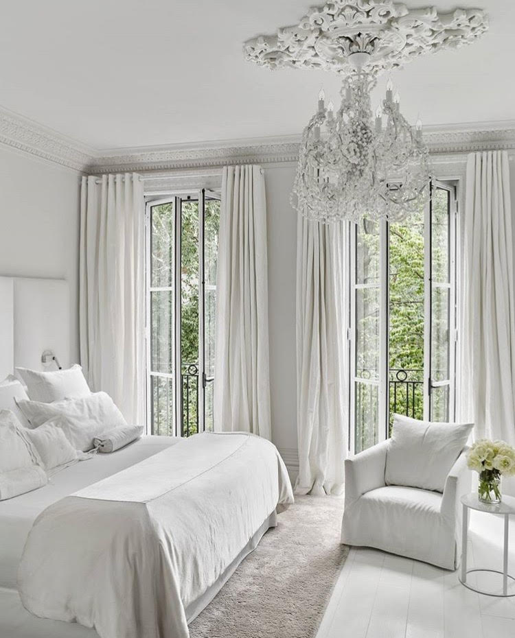 Incredible White Townhouse in Manhattan s West Side     Kay Genua Designs Serene and elegant master bedroom  Once again I love the traditional  architectural features along with the chandelier next to the transitional  furnishings