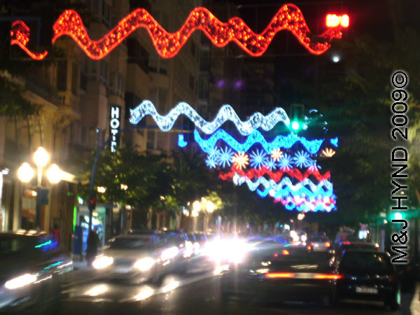 Fiesta New Years Eve  spain holiday nz     Spain Holiday NZ spain downtown Alicante  fiesta nochevieja New Years Eve  Christmas lights