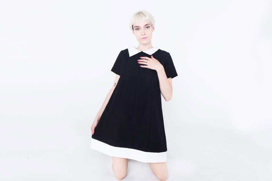 ALL STYLES     MISS TAILOR BABYDOLL BLACK DRESS WITH POINTY PETER PAN COLLAR