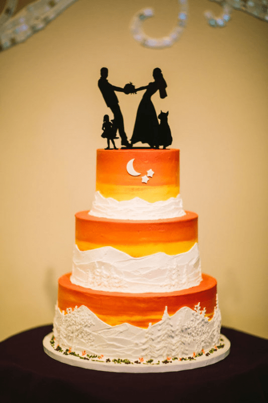 Fall Wedding Cakes   a Lancaster County Specialty      Perfect Settings Capitalize on the fun of Halloween by incorporating it into your wedding  with an orange and black color scheme  as in this fun ombre cake