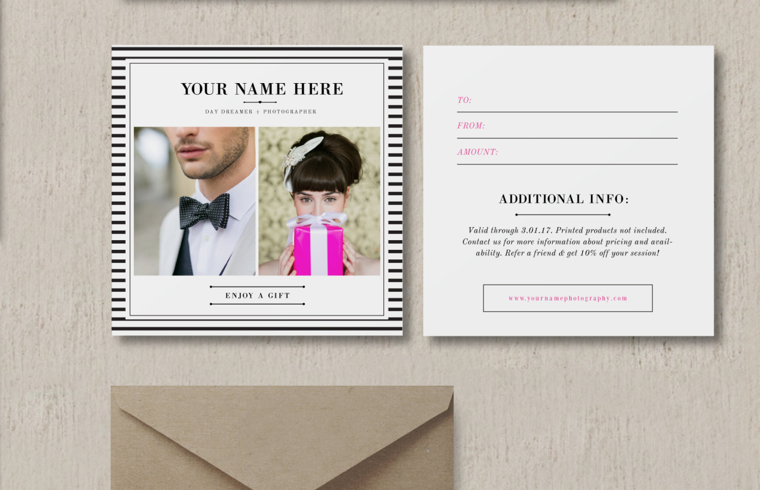 Gift Card Design for Wedding   Portrait Photographers   Photography     Gift Card Design for Wedding   Portrait Photographers   Photography Gift  Certificate Template