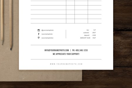 Photographer Invoice Design Template   Minimal