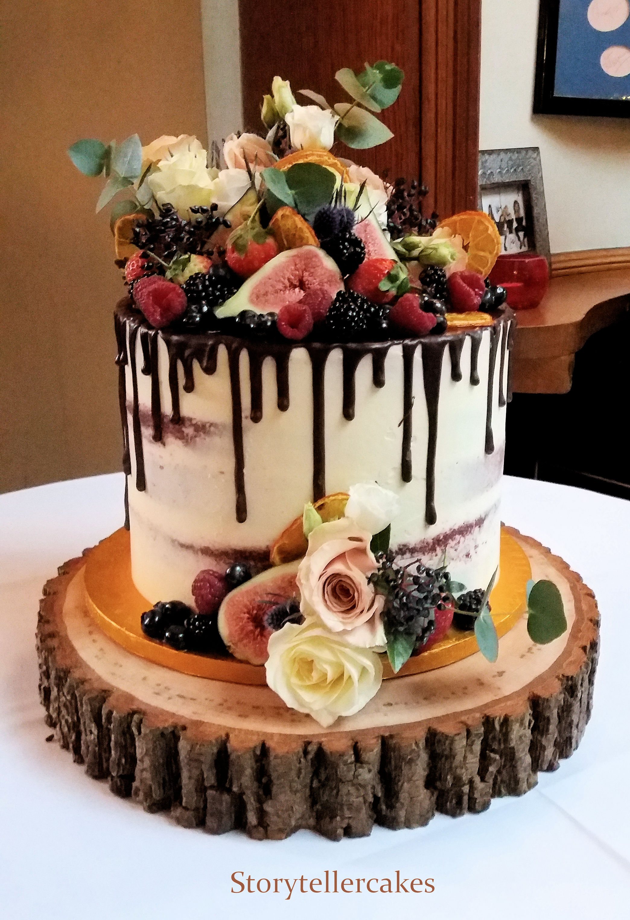 Naked   Buttercream Wedding Cakes     Storyteller Cakes Chocolate Drip   Fruit Wedding Cake jpg