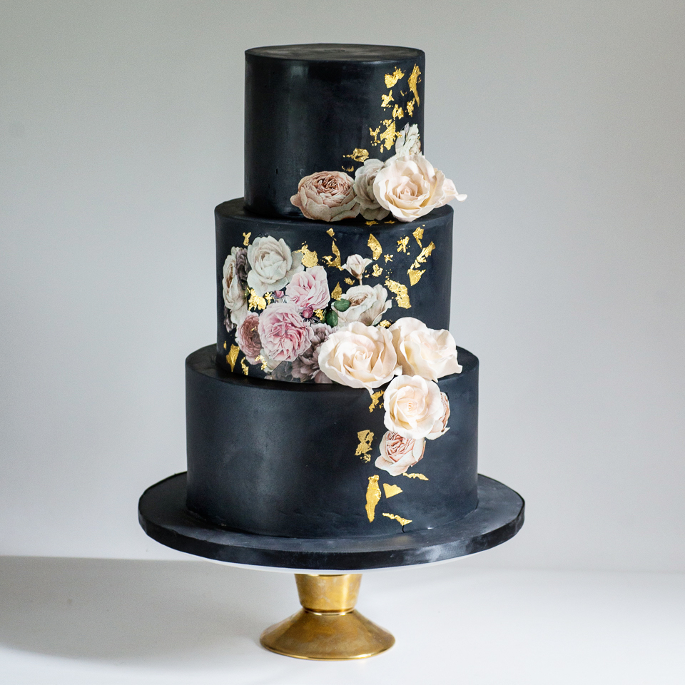 Wedding Cakes     Blue Lace Cakes Black wedding cake with sugar roses  floral images  and gold leaf