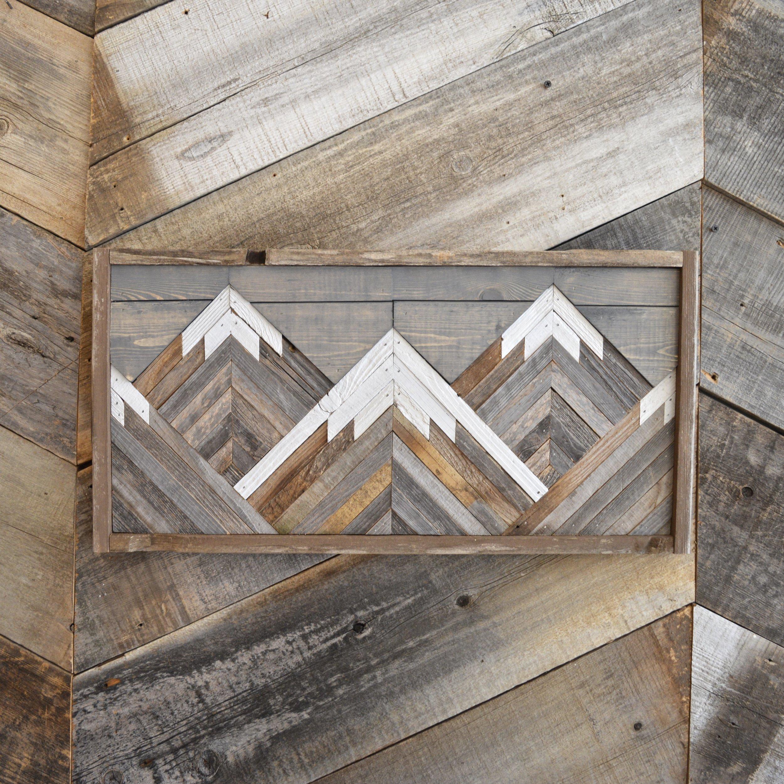 Grey Wash Reclaimed Barn Wood Mountain Scene Wall Art Revampt Goods