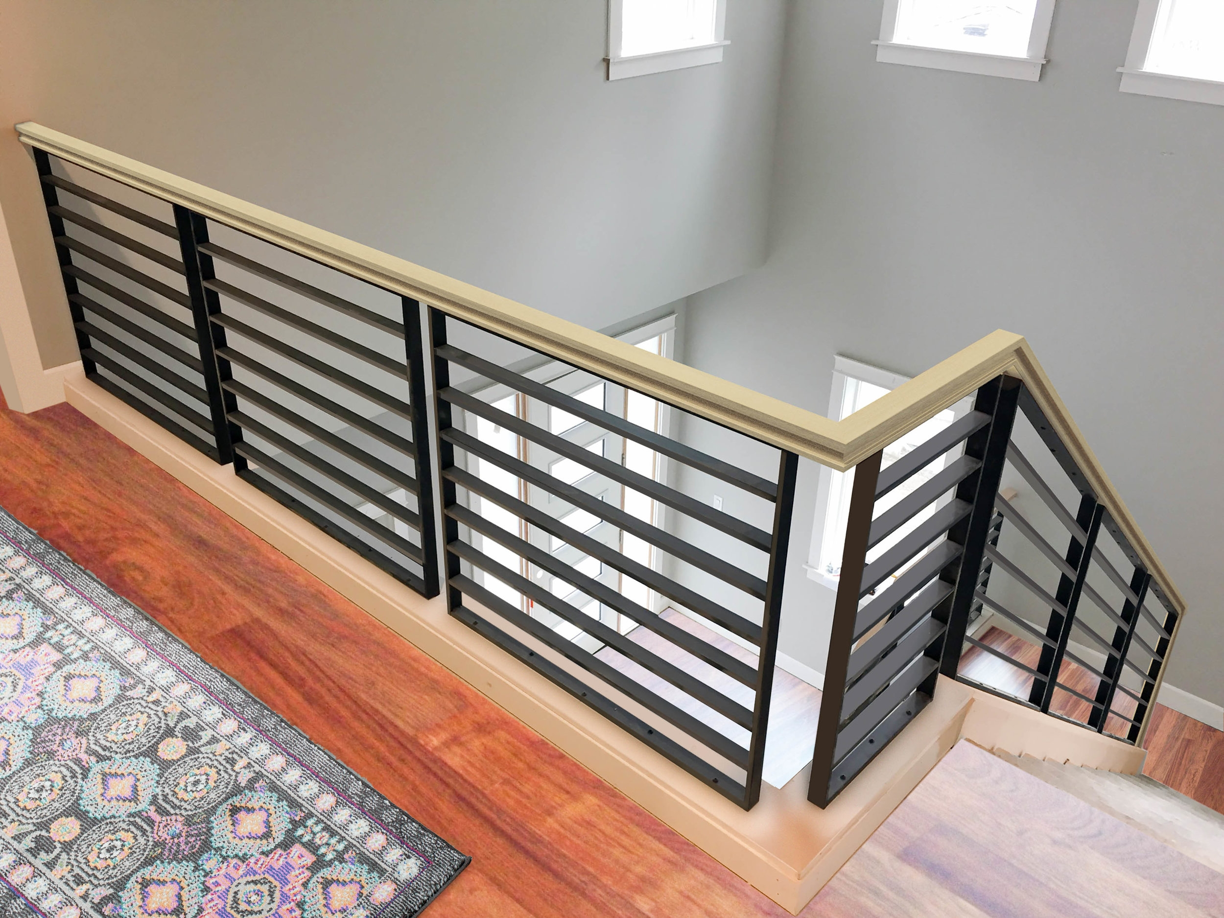 Linear Metal Panels — Oak Pointe Stair Parts And More | Wood And Metal Handrail | Interior | Iron Railing | Architectural Modern Wood Stair | Stainless Steel | Traditional