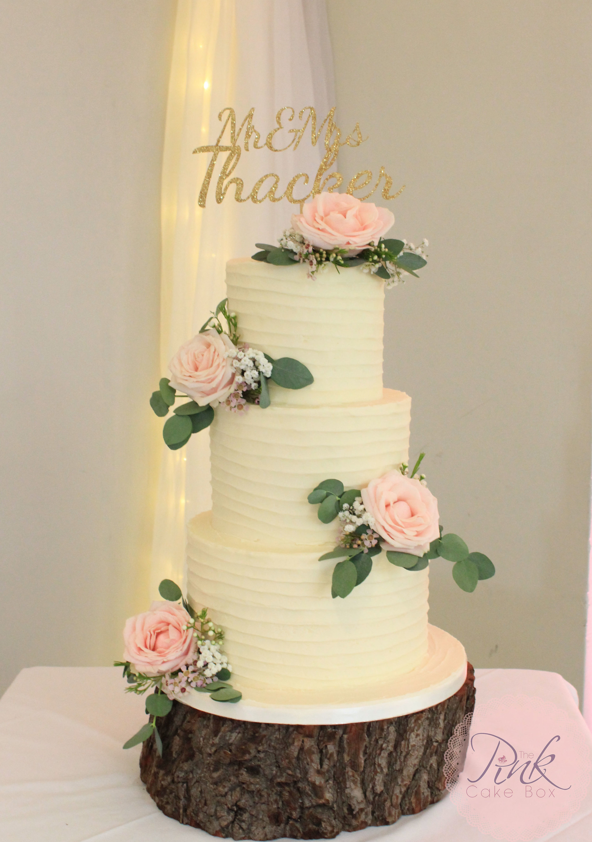 Buttercream Wedding Cakes     The Pink Cake Box Wedding Cake Design Buttercream wedding cake with soft blush fresh flowers to match the bouquets